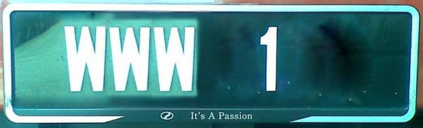 WWW 1 plate in Malaysia