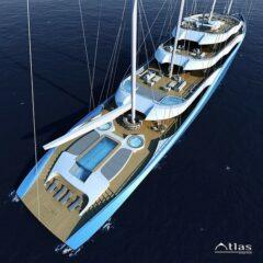 Project Atlas – a 110m motor yacht that utilises the sail power