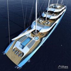 Project Atlas – a 110m motor yacht that utilises the sail power