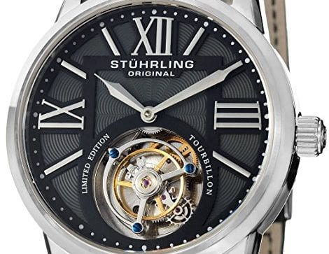 Stuhrling Original Men's 537.331X1 Tourbillon Grand Imperium Limited Edition Mechanical Black Watch