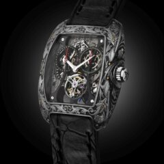 Hand engraved Titanium Monopusher Chrono Tourbillon
